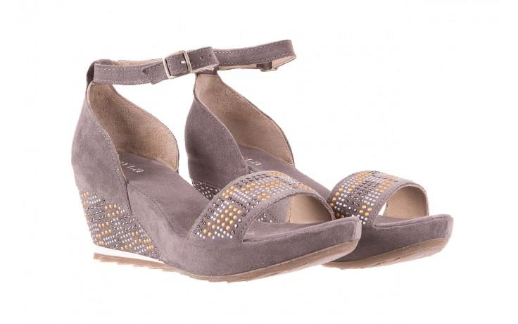 Sandały bayla-131 2701 grigio, szary, skóra naturalna  - koturny - dla niej  - sale 1