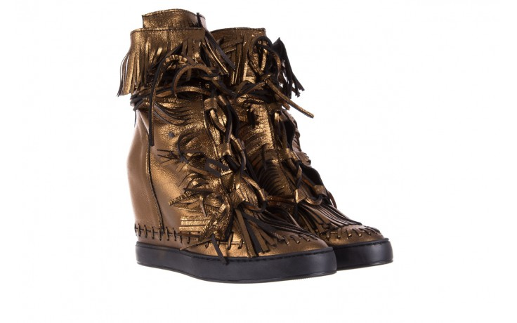 Botki bayla-136 g655 skóra złota, skóra naturalna  - na platformie - botki - buty damskie - kobieta 1