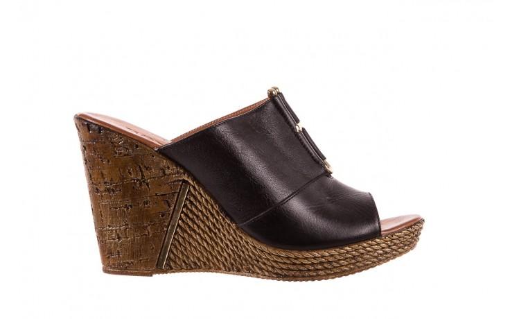 Klapki bayla-161 020-75 black, czarny, skóra naturalna - na koturnie - klapki - buty damskie - kobieta