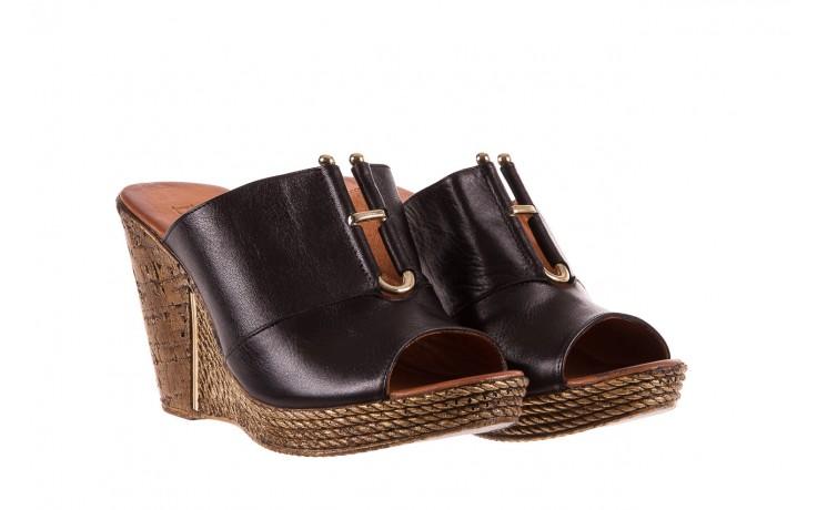 Klapki bayla-161 020-75 black, czarny, skóra naturalna - na koturnie - klapki - buty damskie - kobieta 1