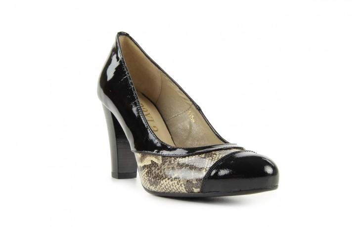 Czółenka bayla-508 1154/1 czarny szary wąż, skóra naturalna lakierowana - bayla - nasze marki 1