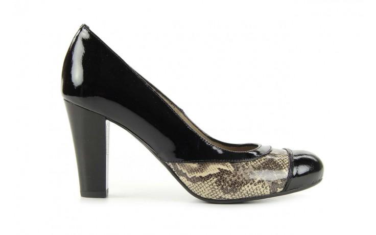 Czółenka bayla-508 1154/1 czarny szary wąż, skóra naturalna lakierowana - bayla - nasze marki