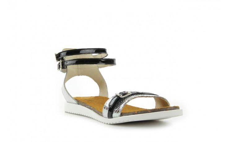 Sandały bayla-cs 423 s srebrno czarny, skóra naturalna - bayla - nasze marki 1