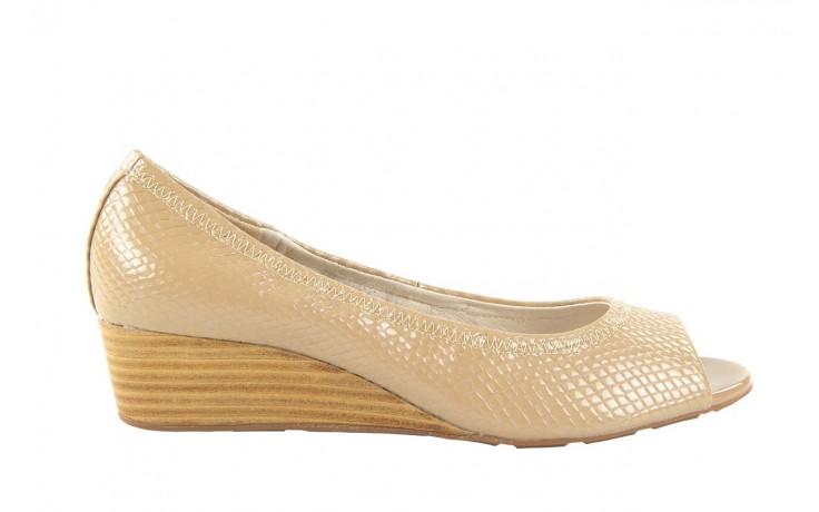 Czółenka bayla 1252-11d powder, beż, skóra naturalna lakierowana - na koturnie - czółenka - buty damskie - kobieta