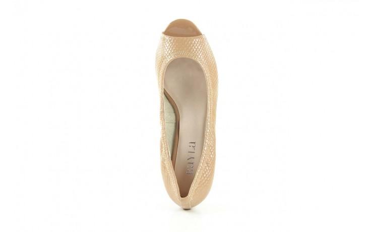Czółenka bayla 1252-11d powder, beż, skóra naturalna lakierowana - na koturnie - czółenka - buty damskie - kobieta 4