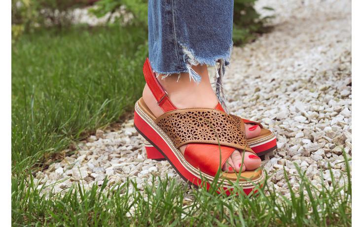 Sandały bayla-161 105 2014 coconut red 161212, czerwony/ brąz, skóra naturalna  - skórzane - sandały - buty damskie - kobieta 8