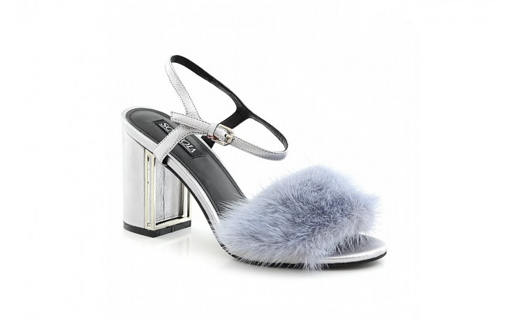 Sandały sca'viola e-15 grey, srebro, skóra/ futro naturalne - sca`viola - nasze marki