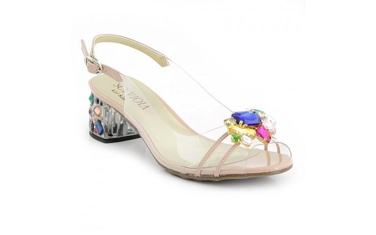 Sandały sca'viola g-25 nude, róż, silikon - na obcasie - sandały - buty damskie - kobieta