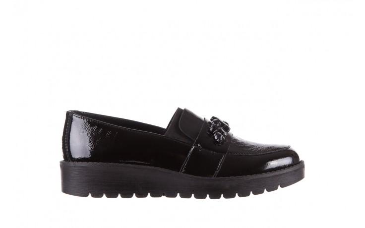 Mokasyny imac 205660 black, czarny, skóra naturalna lakierowana  - na koturnie - półbuty - buty damskie - kobieta