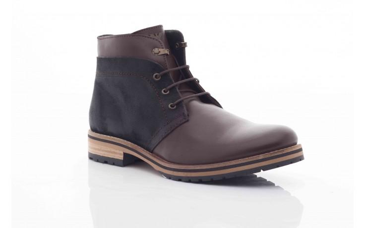 Trzewiki armani jeans u6593 brown-black, brąz/ czarny, skóra naturalna  - wizytowe - trzewiki - buty męskie - mężczyzna