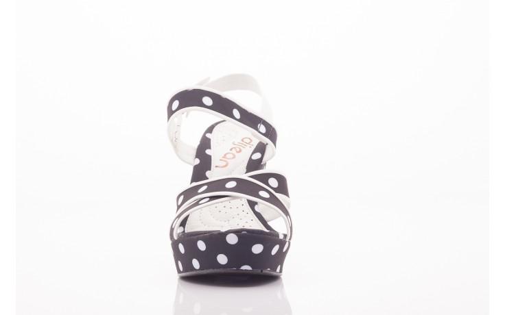 Sandały dijean 753 518 black poa-white, czarny, skóra ekologiczna/ materiał - na platformie - sandały - buty damskie - kobieta