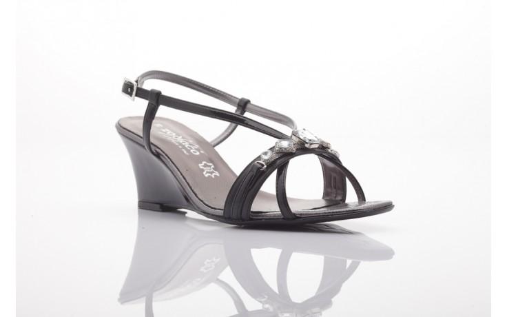 Sandały zodiaco a330s black pat, czarny, skóra naturalna lakierowana
