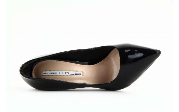 Czółenka studio tmls 22816 patent soft snake black, czarny, skóra naturalna lakierowana 5