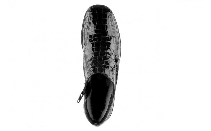 Półbuty rieker l6093-00 black, czarny, skóra naturalna lakierowana