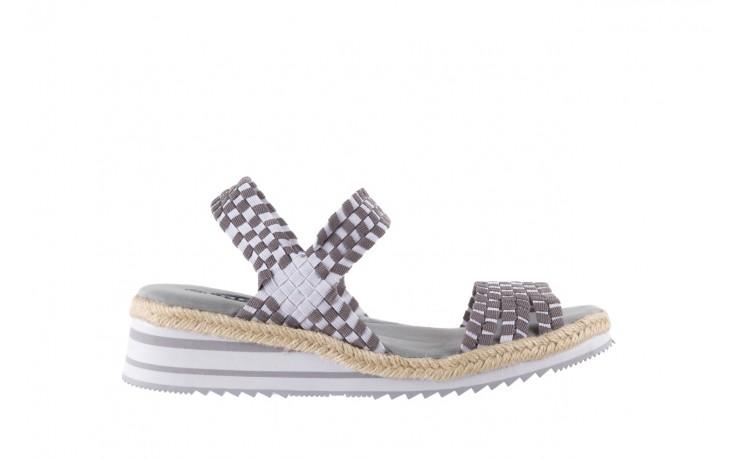 Sandały rock balnea white grey, biały/szary, materiał  - koturny - buty damskie - kobieta