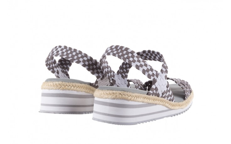Sandały rock balnea white grey, biały/szary, materiał  - koturny - buty damskie - kobieta 3
