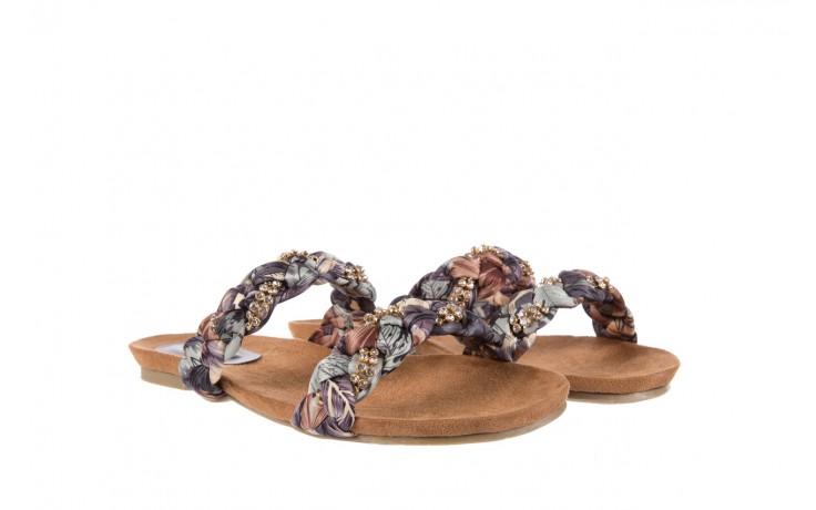 Klapki rock flora brown, wielokolorowy, materiał - rock - nasze marki 1