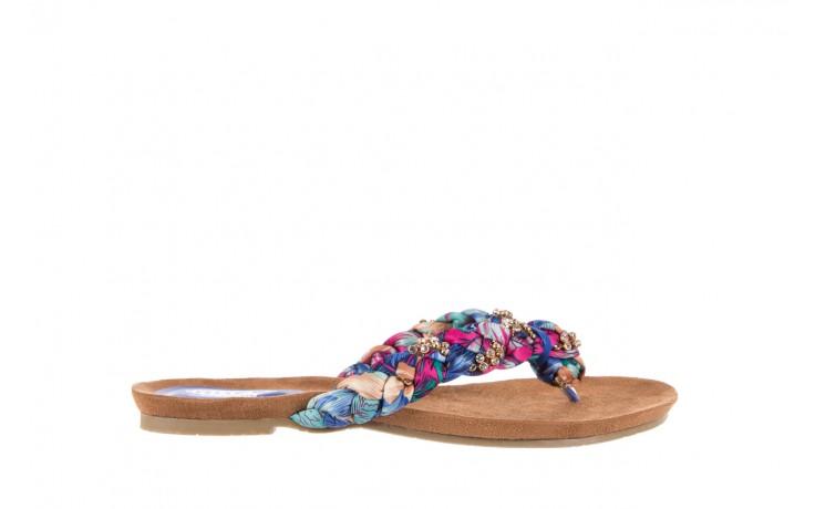 Klapki rock herba blue violet, wielokolorowy, materiał - japonki - klapki - buty damskie - kobieta