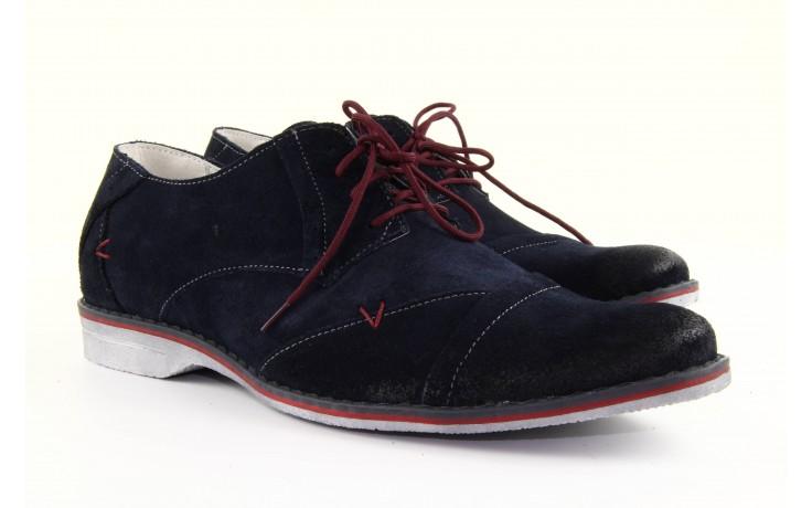 Półbuty tresor-rk 667 welur blue, granat, skóra naturalna  - obuwie wizytowe - dla niego - sale 3