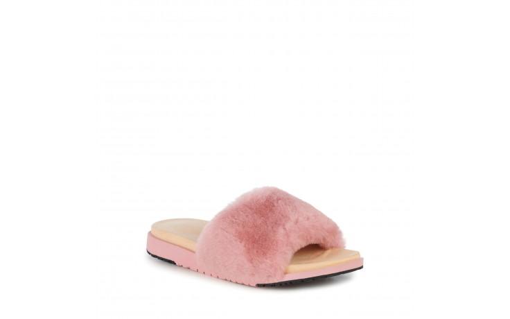 Klapki emu robe dusty pink, róż, futro naturalne  - emu - nasze marki 1