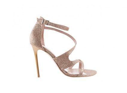 Sandały Bayla-097 11 Złote Sandały na Szpilce z Glitterem, Materiał