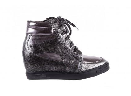 Sneakersy Bayla-154 W-771 Srebro, Skóra naturalna