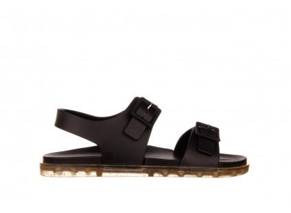 Sandały Melissa Wide Sandal AD Black Rice Husk 010358, Czarny, Guma