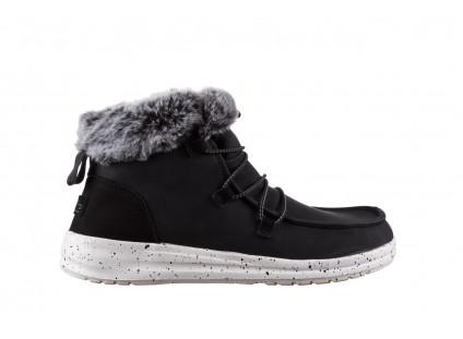Śniegowce HeyDude Eloise Black 003193, Czarny, Skóra naturalna