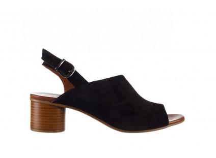 Sandały Bayla-161 061 1030 Black Suede, Czarny, Skóra naturalna zamszowa