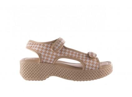 Sandały Azaleia 321 295 Beige Plaid, Biały/ Beż, Materiał