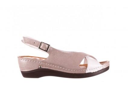 Sandały Bayla-112 0158-58 Biały Szary, Skóra naturalna