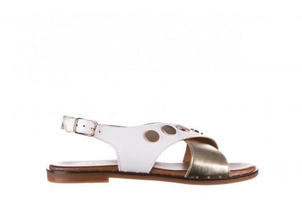 Sandały Bayla-176 117Z Biały Złoty, Skóra naturalna