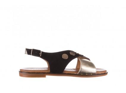Sandały Bayla-176 117Z Czarny Złoty, Skóra naturalna
