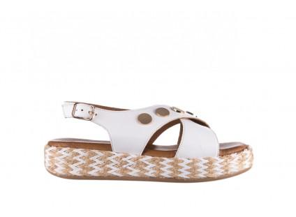 Sandały Bayla-176 1414 Biały, Skóra naturalna