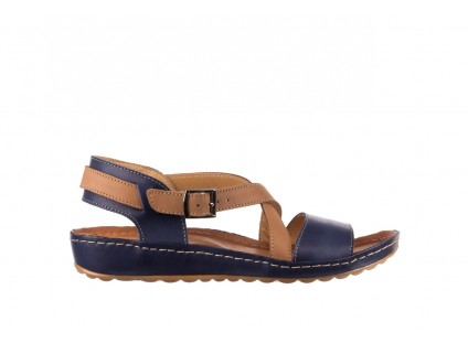 Sandały Bayla-100 420 Granat Brąz, Skóra naturalna
