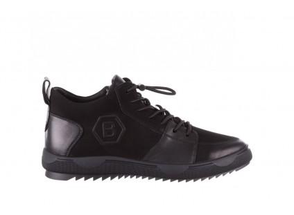 Trampki Brooman B28A66R-3 Black, Czarny, Skóra naturalna