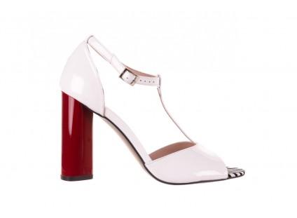 Sandały Bayla-097 08 Biało-Czerwone Sandały, Skóra naturalna lakierowana