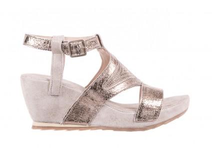 Sandały Bayla-131 2714 Platino, Srebrny, Skóra naturalna
