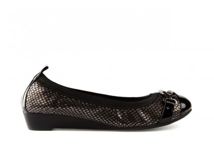 Bayla-018 1070-133 Embosed Snake Pat. Pn Pewter Black