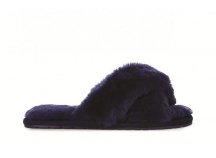 Klapki Emu Mayberry Midnight 19, Granat, Futro naturalne