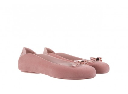Baleriny Melissa Pump It Flocked AD Pink, Róż, Guma