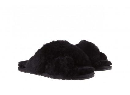 Klapki Emu Mayberry Black 19, Czarny, Futro naturalne