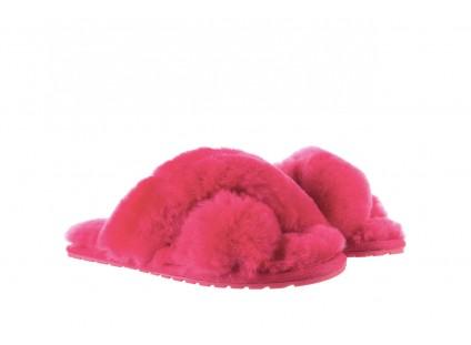 Klapki Emu Mayberry Fuschia, Róż, Futro naturalne