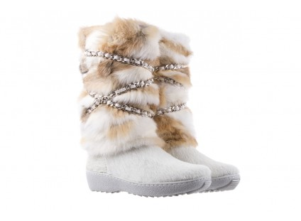 Śniegowce Oscar Brook Bianco, Biały/Brąz, Futro naturalne