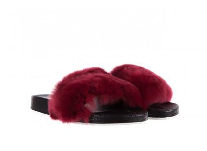 Klapki Bayla-112 0479-17194 Burgundy Furry, Bordo/Czarny, Skóra naturalna