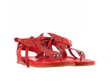 Sandały Bayla-163 17-178 Red, Czerwony, Skóra naturalna