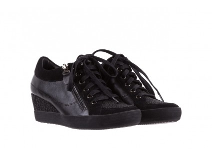 Sneakersy Bayla-018 SW-1707 Black, Czarny, Skóra naturalna