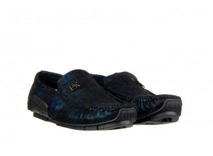 Mokasyny John Doubare Y198-102 Blue 104180, Niebieski, Skóra naturalna