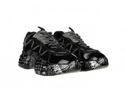 Sneakersy Sca'viola B-206 Black, Czarny, Skóra naturalna lakierowana
