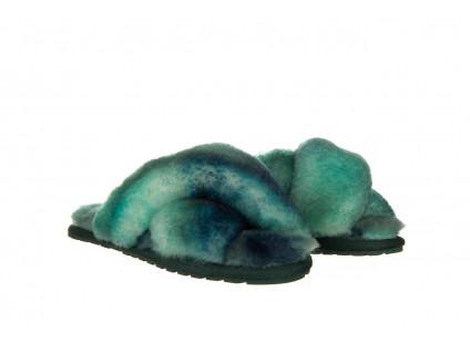 Kapcie Emu Mayberry Tie Dye Green Sea 119138, Zielony, Futro naturalne